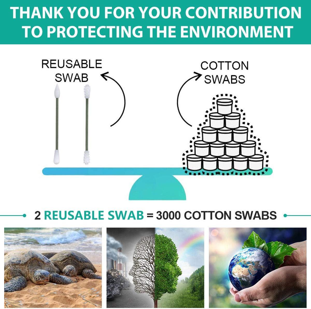 B/âtons de Coton Ecologiques,Coton-tige de Nettoyage pour le maquillage et le Nettoyage des Oreilles avec une Bo/îte Vert B/âtons Silicone 2PCS Charminer Coton Tige Reutilisable Lavable