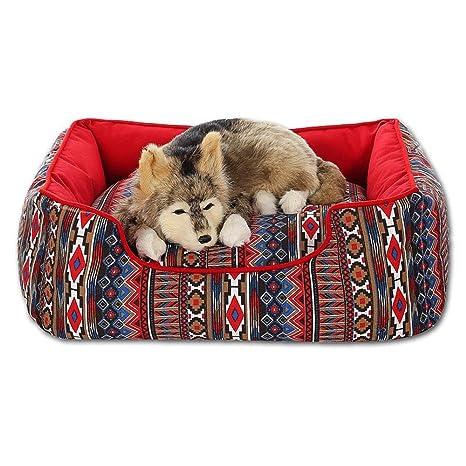 Aolvo Fancy cama para perro, lona transpirable, almohadilla de aduana étnica/colchón/