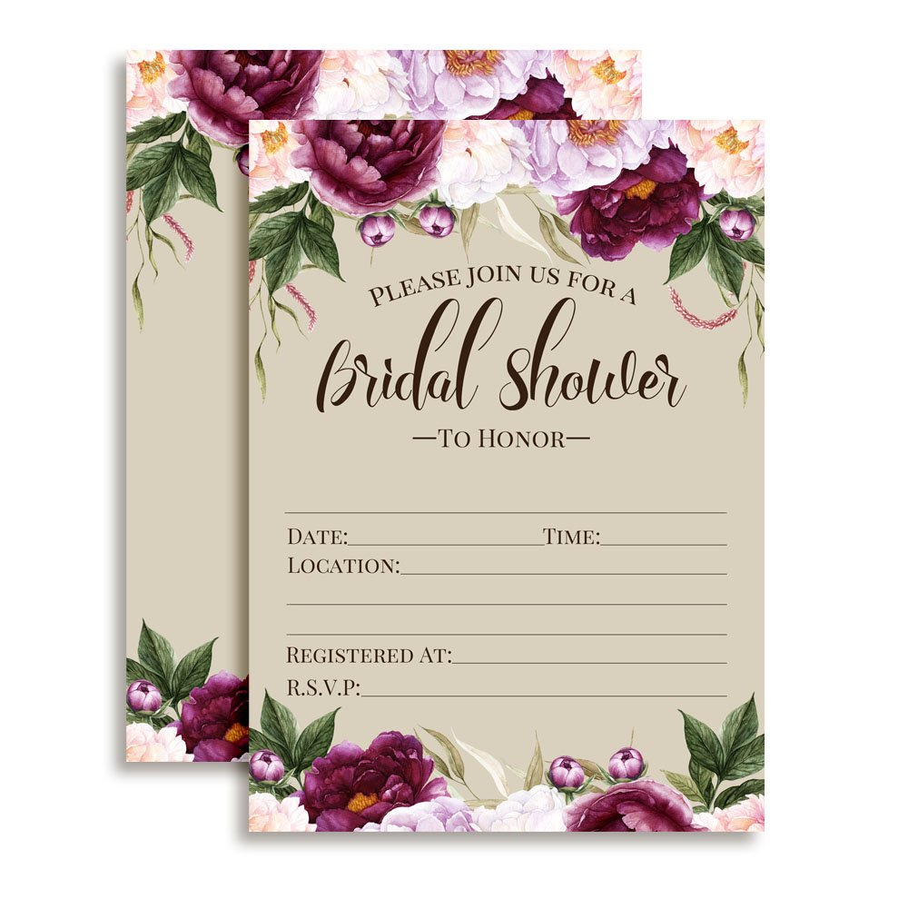 Watercolor Deep Violet and Lilac Floral Bridal Shower Invitations, 20 Fill in Cards with Twenty White Envelopes by AmandaCreation