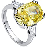 BERRICLE Rhodium Plated Sterling Silver Canary Yellow Cushion Cut Cubic Zirconia CZ Statement 3-Stone Cocktail…