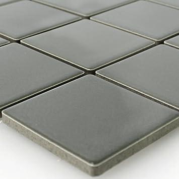 Keramik Mosaik Fliesen Grau Uni Glänzend Amazonde Baumarkt - Fliesen grau glänzend