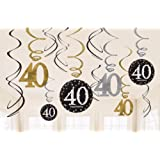 Amscan Party Supplies Sparkling Celebration 40 Value Pack Foil Swirl Decorations (12 Piece), Multi Color