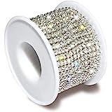 1 Roll 10 Yards 3MM Crystal Rhinestone Close Chain Trim for Sewing Craft DIY Decoration Jewelry Silver Crystal Claw Chain Rhi