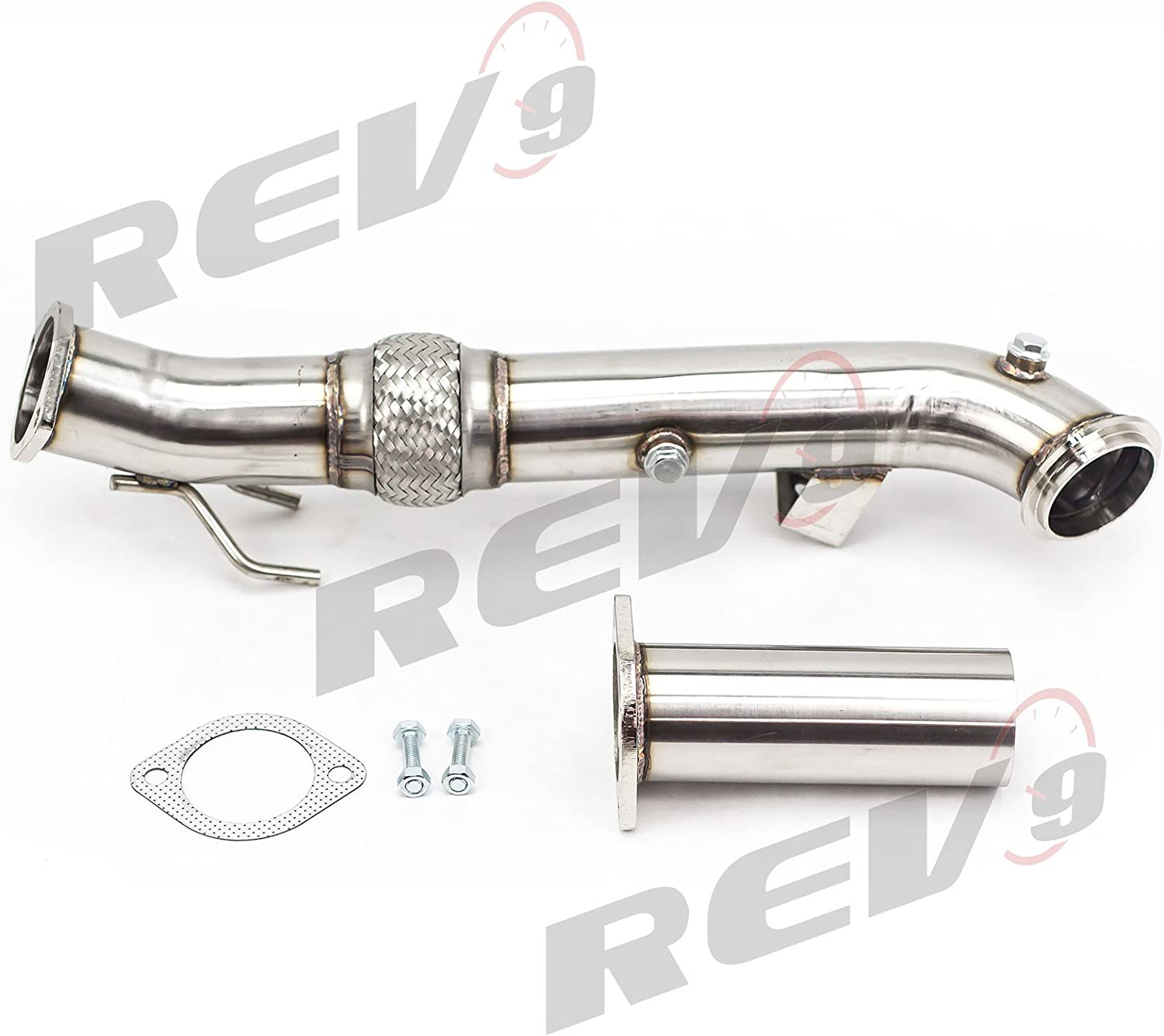 Rev9 3 Downpipe for 2013-2017 Ford Focus ST 2.0L Ecoboost Catless Flex Turbo Down pipe Stainless Steel