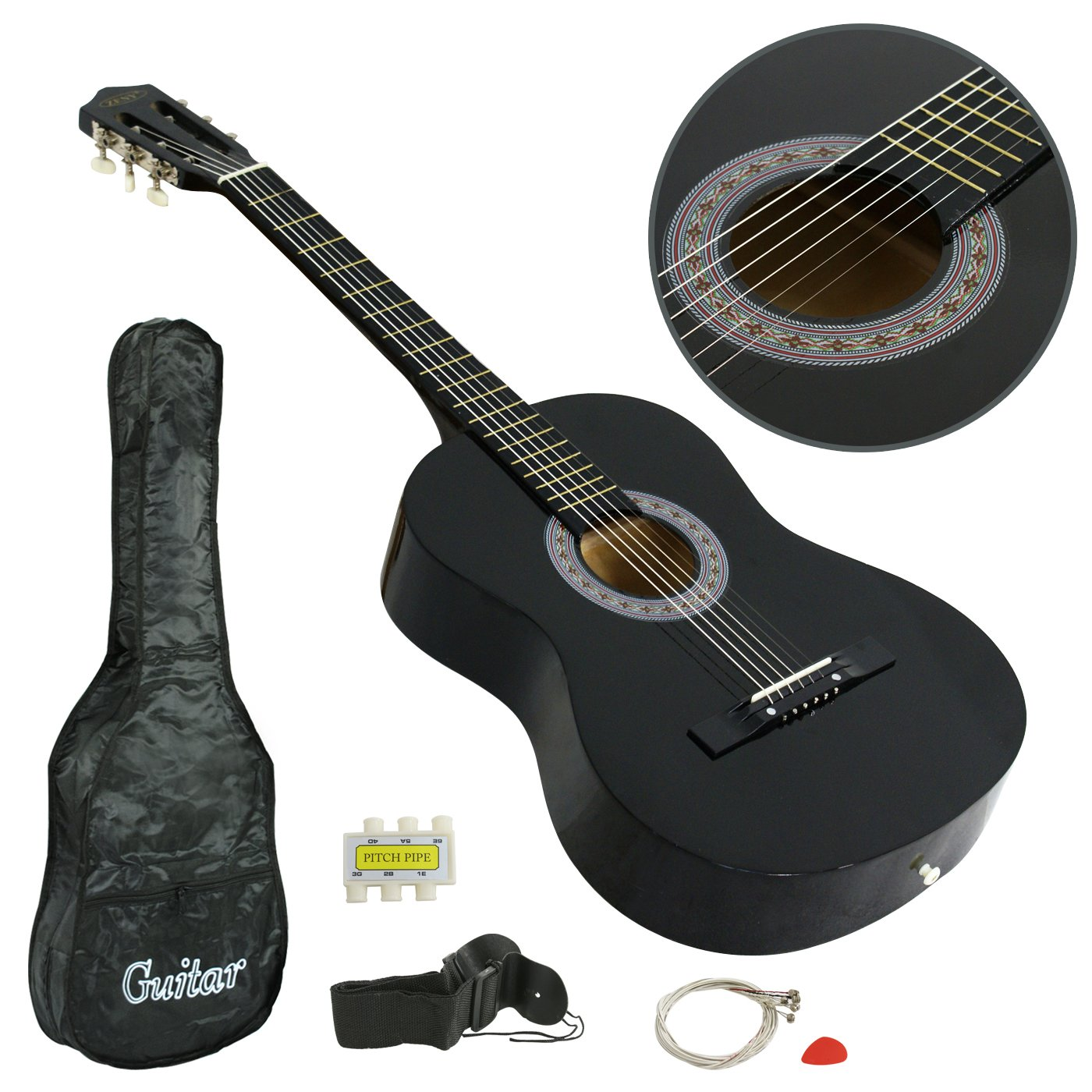 ZENY Beginners 38'' Acoustic Guitar Package Kit for Right-handed Starters Kids Music Lovers w/Case, Strap, Digital E-Tuner, and Pick, Black by ZENY (Image #4)