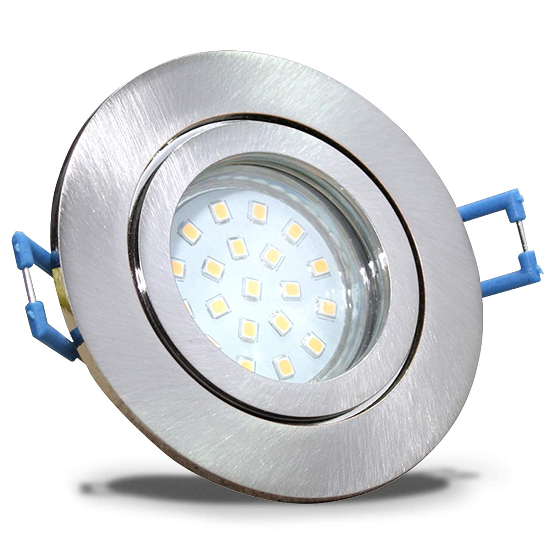 4 Stück IP44 SMD LED Bad Einbaustrahler Aqua 230 Volt 9Watt Rund Eisen geb.   Warmweiß