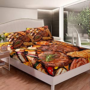 Erosebridal Mexican Barbecue Fitted Sheet, Grill Party Bed Cover Full Size Sausages Fitted Sheet Fast Food Theme Bedding Set for Kids Boys Girls Bedroom Decorative, Trendy Fitted Sheet