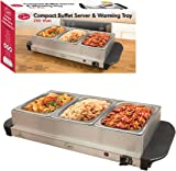 Quest 16520 Compact Triple Buffet Server and Warming Tray, Stainless Steel 200 W, 3 liters, Silver