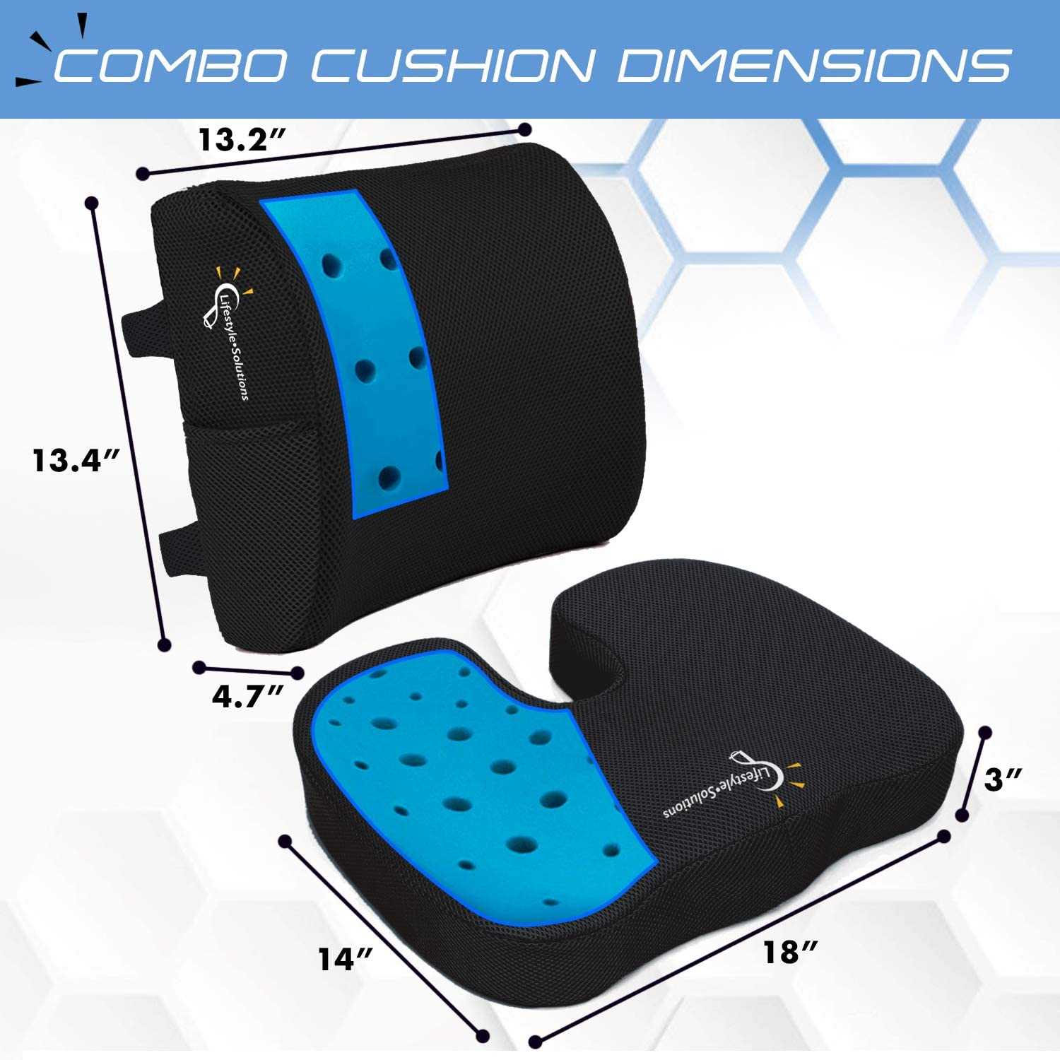 Lifestyle Memory Foam Seat Cushion and Lumbar Back Cushion Combo, Gel Infused Ventilated, Orthopedic Design for Coccyx Tailbone Pain and Sciatica, Perfect for Office Chair: Home & Kitchen
