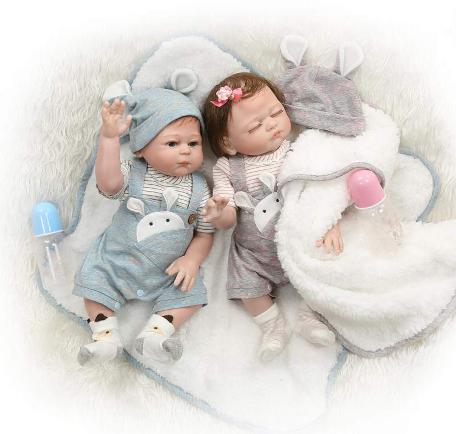 TERABITHIA 20inch 50cm Realistic Couple Reborn Baby Doll in Silicone Vinyl Full Body Look Real Newborn Dolls Twins Washable for Kids