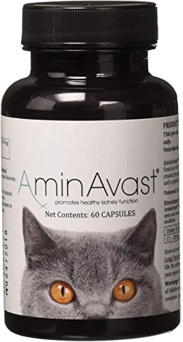 AminAvast Kidney Support Supplement for Cats and Dogs, 300mg – Promotes and Supports Natural Kidney Function – Supports Health and Vitality – Easily Administered – 60 Sprinkle Capsules