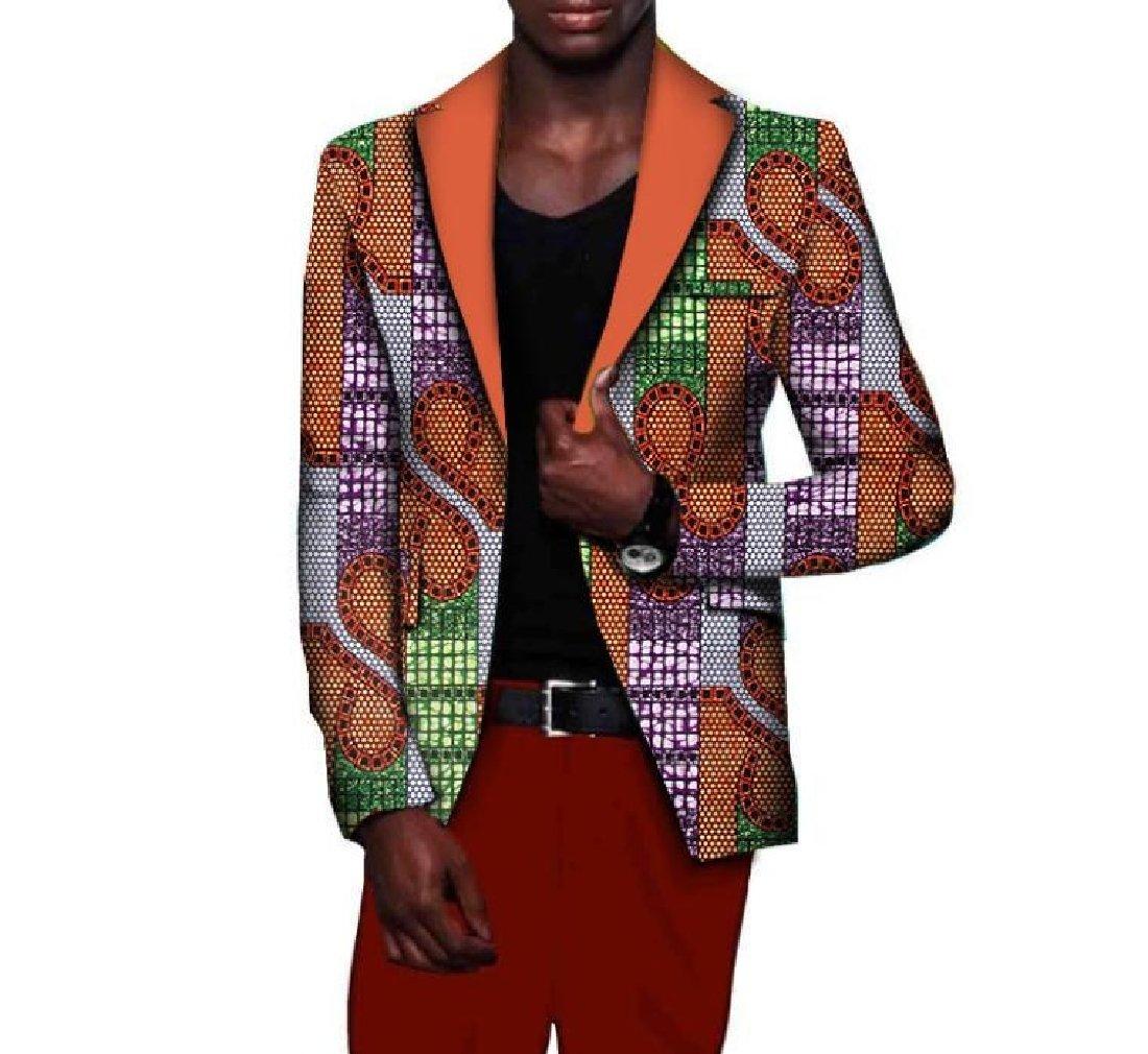 Comaba Men Plus Size Dashiki Fashion Coat Africa Lapel Suit Jacket 2 4XL