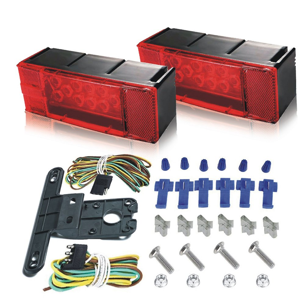 LED Trailer Light Kit - 12V Submersible Low Profile LED Tail/Stop/ Turn/Running Lights with License Plate Bracket & 4-Pin Wiring Harness for Trailer RV Truck Marine Boat Camper - 2 Years Warranty by ZoarC