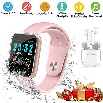 DUODUOGO Reloj Deportivo Inteligente IP68 y Auriculares Bluetooth Inalámbricos, 1.3 Pulgadas Pantalla HD IPS Smartwatch (7 Modos), Bluetooth 5.0 ...