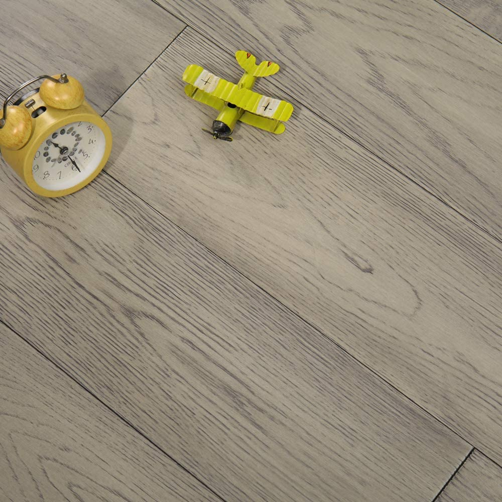 "Grey Oak 6.1"" x 0.7"" Solid Wood Flooring Natural Color Brushed Surface Wooden Flooring"
