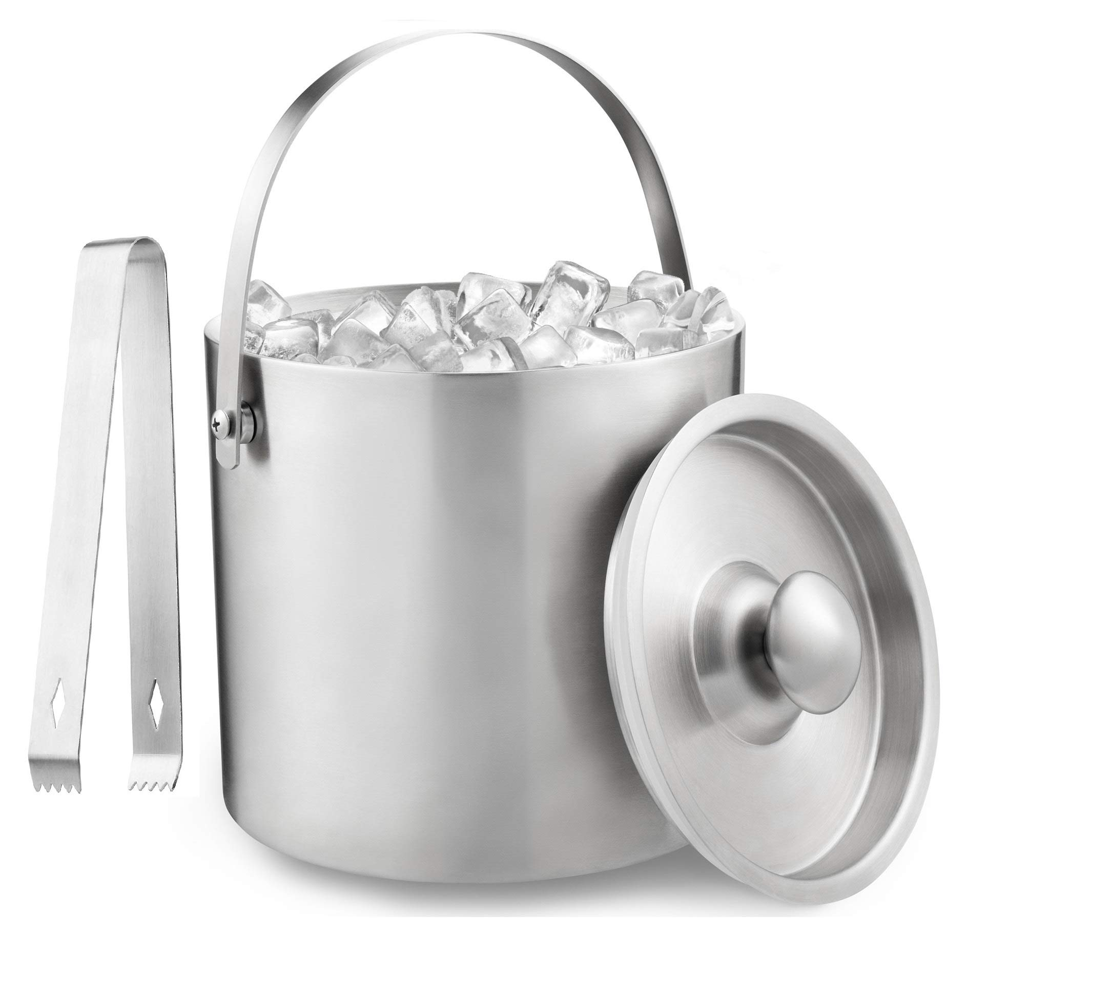 Deppon Insulated Ice Bucket with Tong Sealed by Rubber Ring Double Walled Stainless Steel Tub Heavy-Duty Compact Enhanced Handle Wine Liquor Accessory