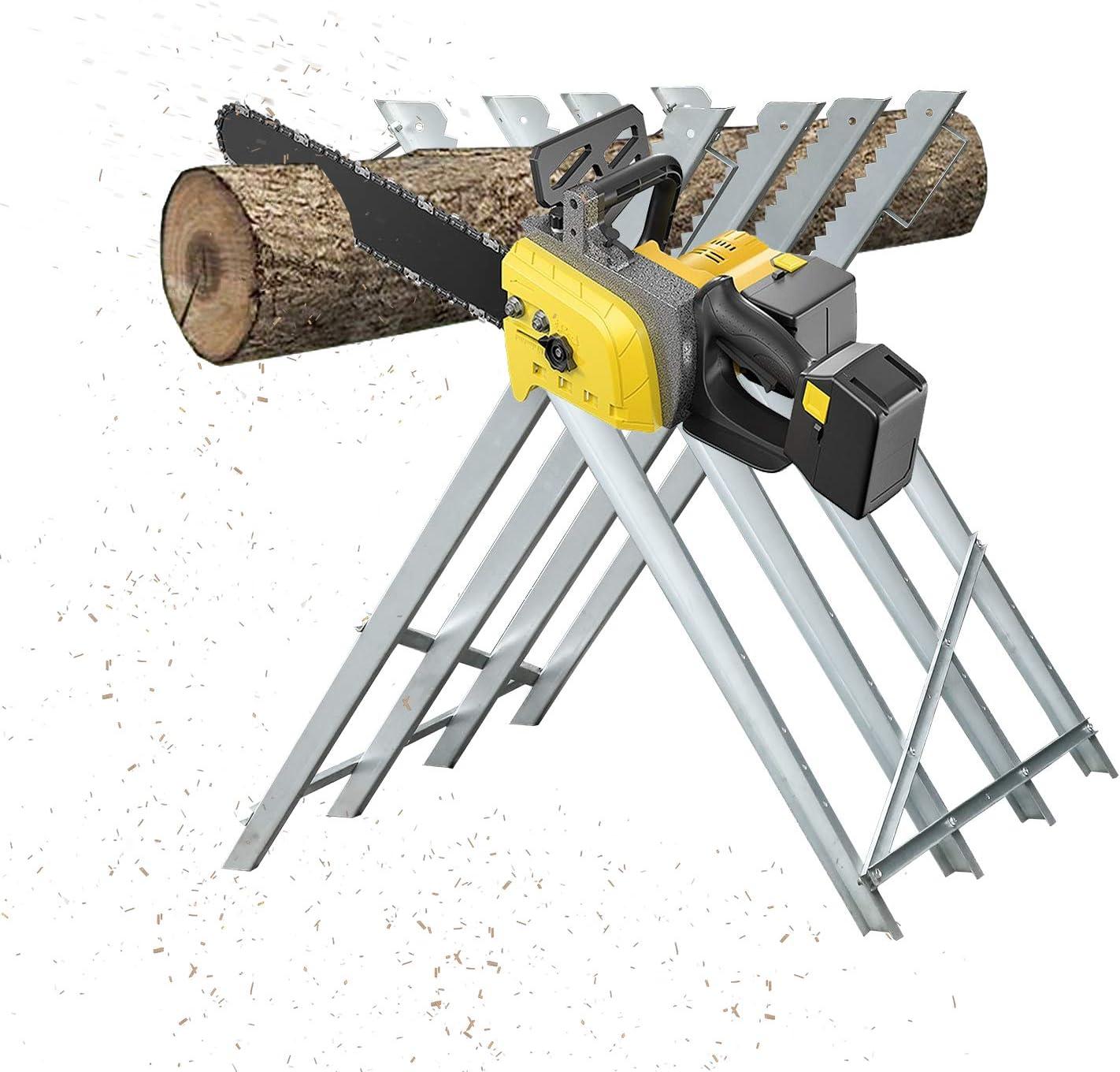 Hengda - Caballete para motosierra 150 kg de perfiles de metal galvanizado, travesaños adicionales, dientes evitan torsión de la madera, 4 alturas de trabajo