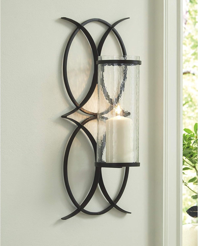 Benzara Elegant Styled Metal Glass Wall Sconce