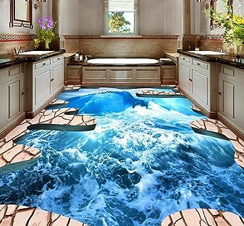 Wiwhy Benutzerdefinierte Boden Tapete 3D Stereoskopischen Ozean Riss ...