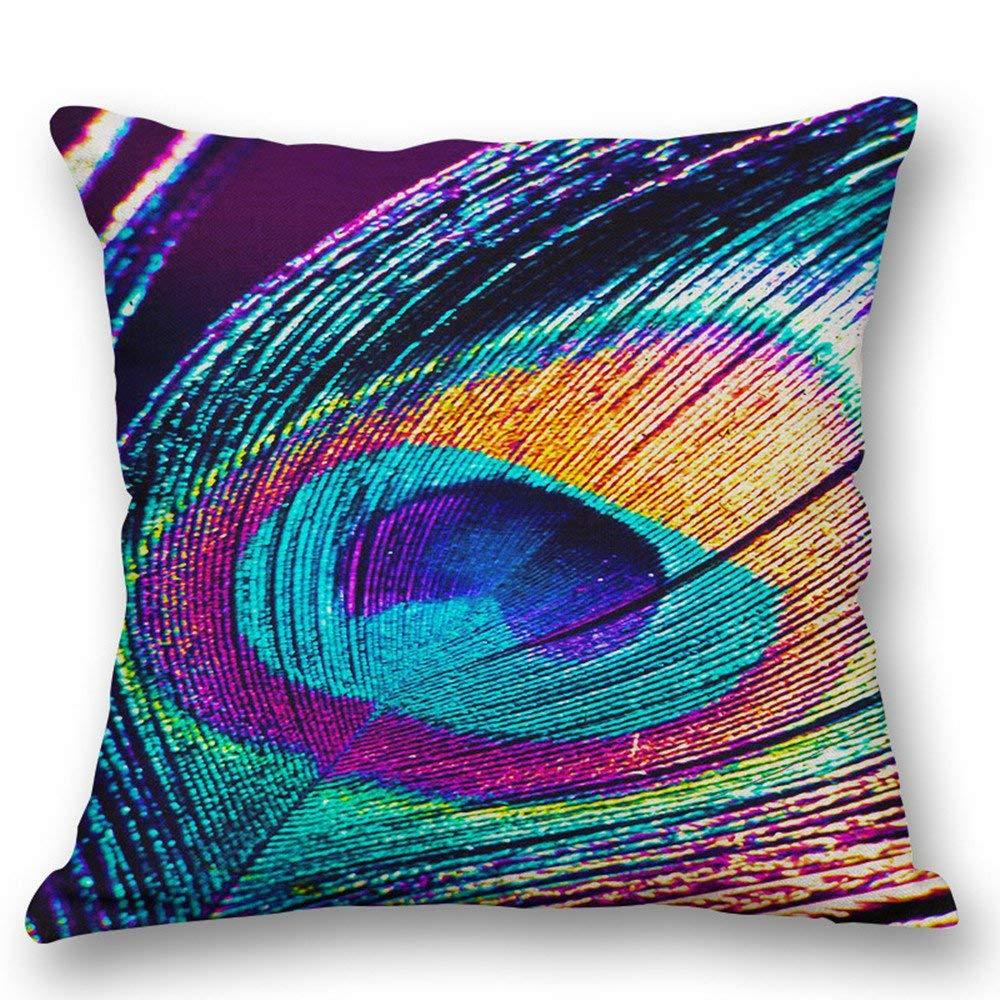 HANGOOD Cotton Linen Throw Pillow Case Cushion Covers Peacock 18 x 18 inches