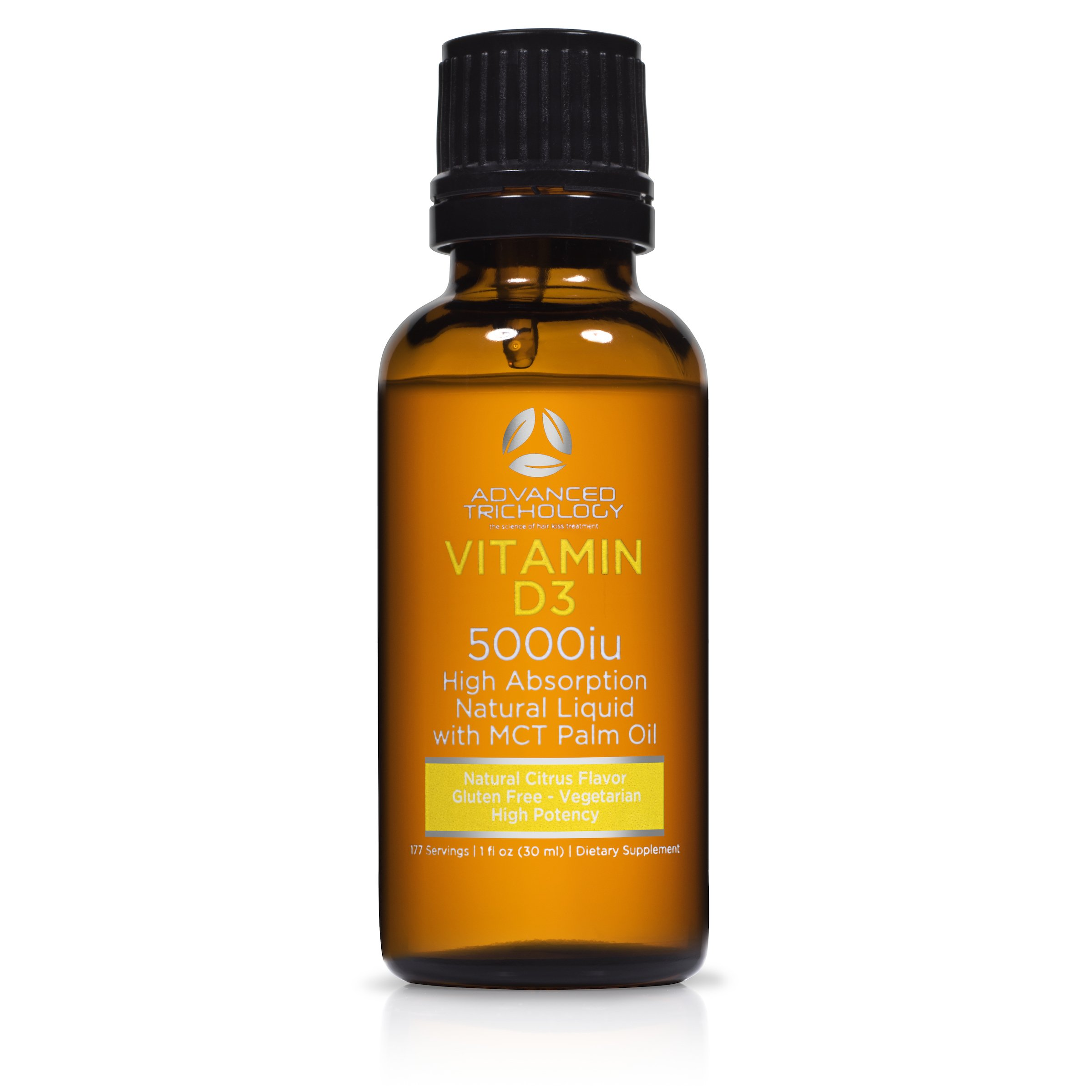Natural Liquid Vitamin D3 | 5000iu per 5 Drops - Extra Strength - Citrus Flavor -180 doses - 6 Month Servings - Vegetarian and Gluten Free by Advanced Trichology