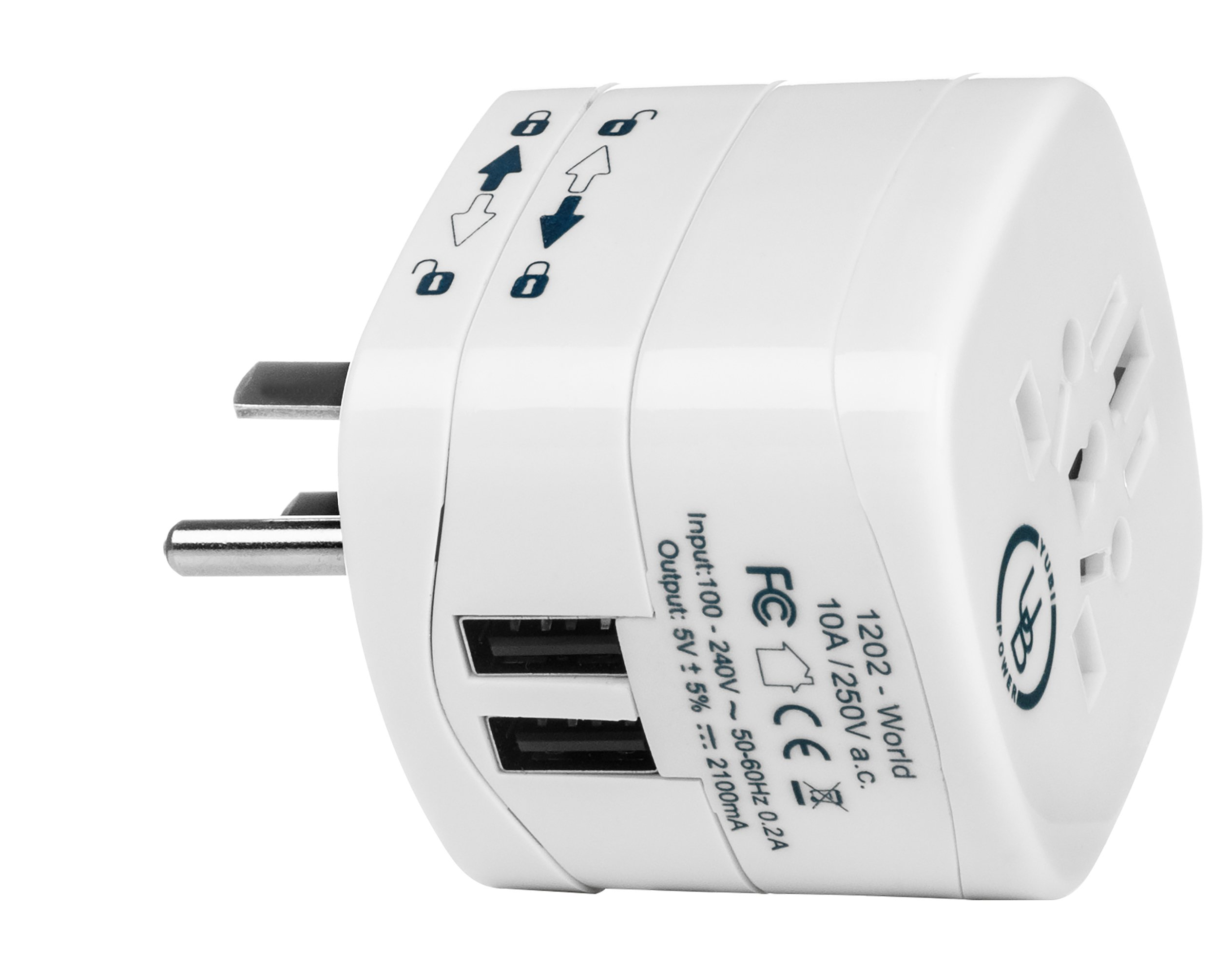 Yubi Power Universal Travel Plug Adapter with Dual USB Ports - Grounded Plug Type B for USA, Brazil, Canada, Mexico, Japan, North and South American Countries