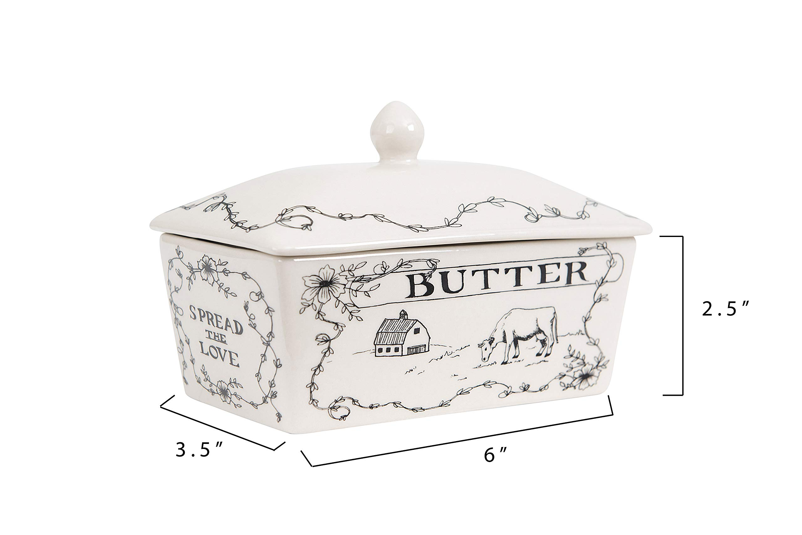 Creative Co-Op Country Style Butter Dish White and Black by Creative Co-op (Image #2)
