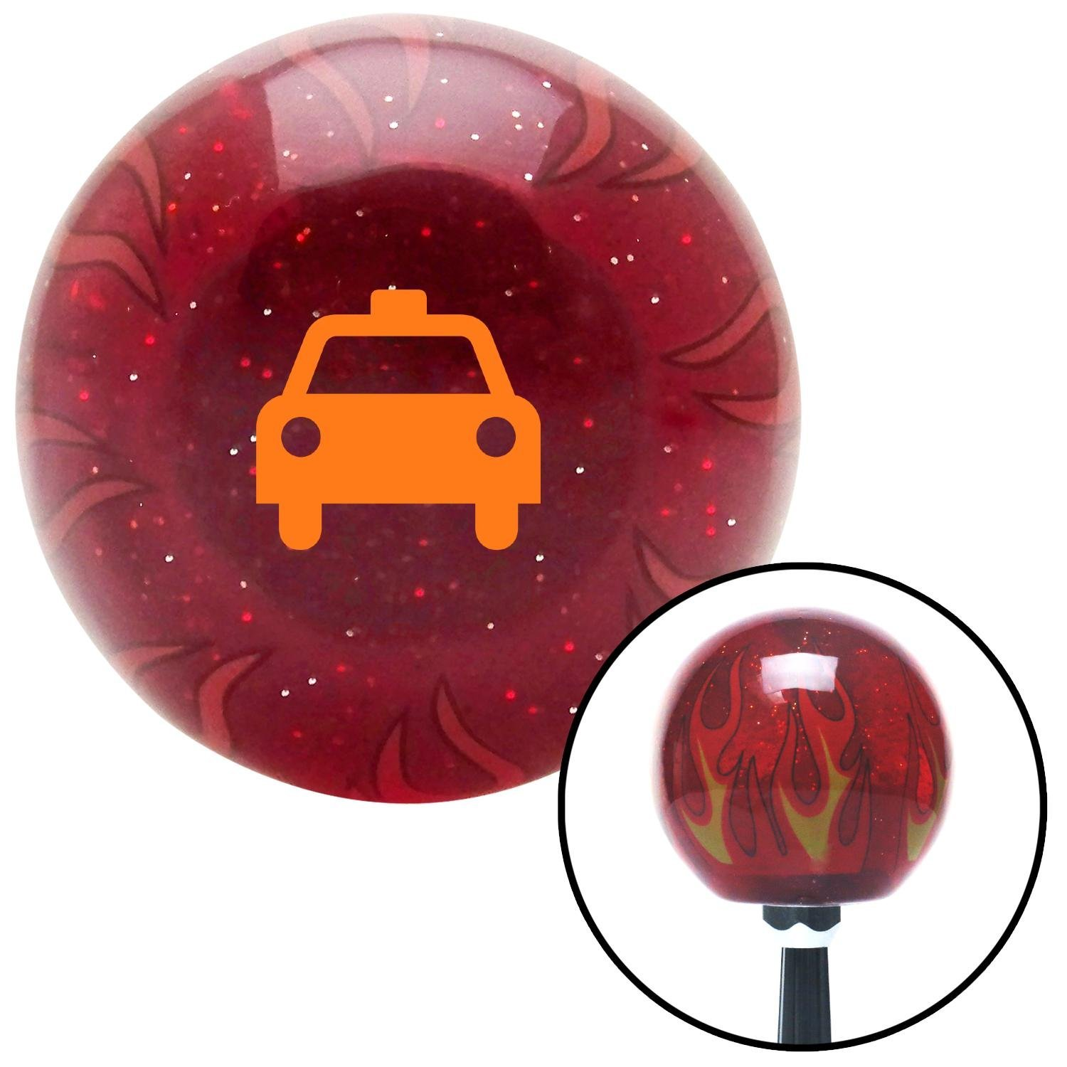 Orange Taxi American Shifter 240285 Red Flame Metal Flake Shift Knob with M16 x 1.5 Insert