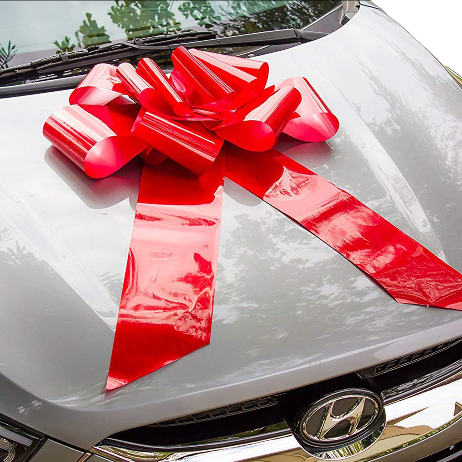 HONGJUYUAN Big Red Car Gift Wrapping Large Bow High Quality Easy Pull Bow(Perfect Shape Guaranteed)
