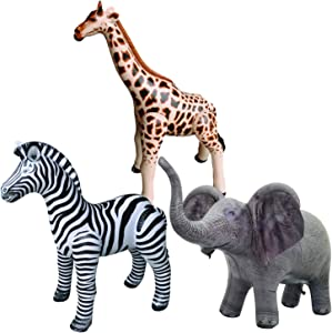 Jet Creations Safari 3 Pack Giraffe Zebra Elephant Great for Pool, Party Decoration, an-GZE, Multi
