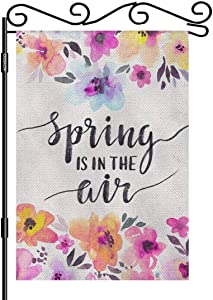 AOYEGO Spring is in The Air Small Garden Flag Vertical Double Sided 12.5 x 18 Inch Watercolor Floral Spring Gentle Flowers Farmhouse Burlap Yard Outdoor Decor