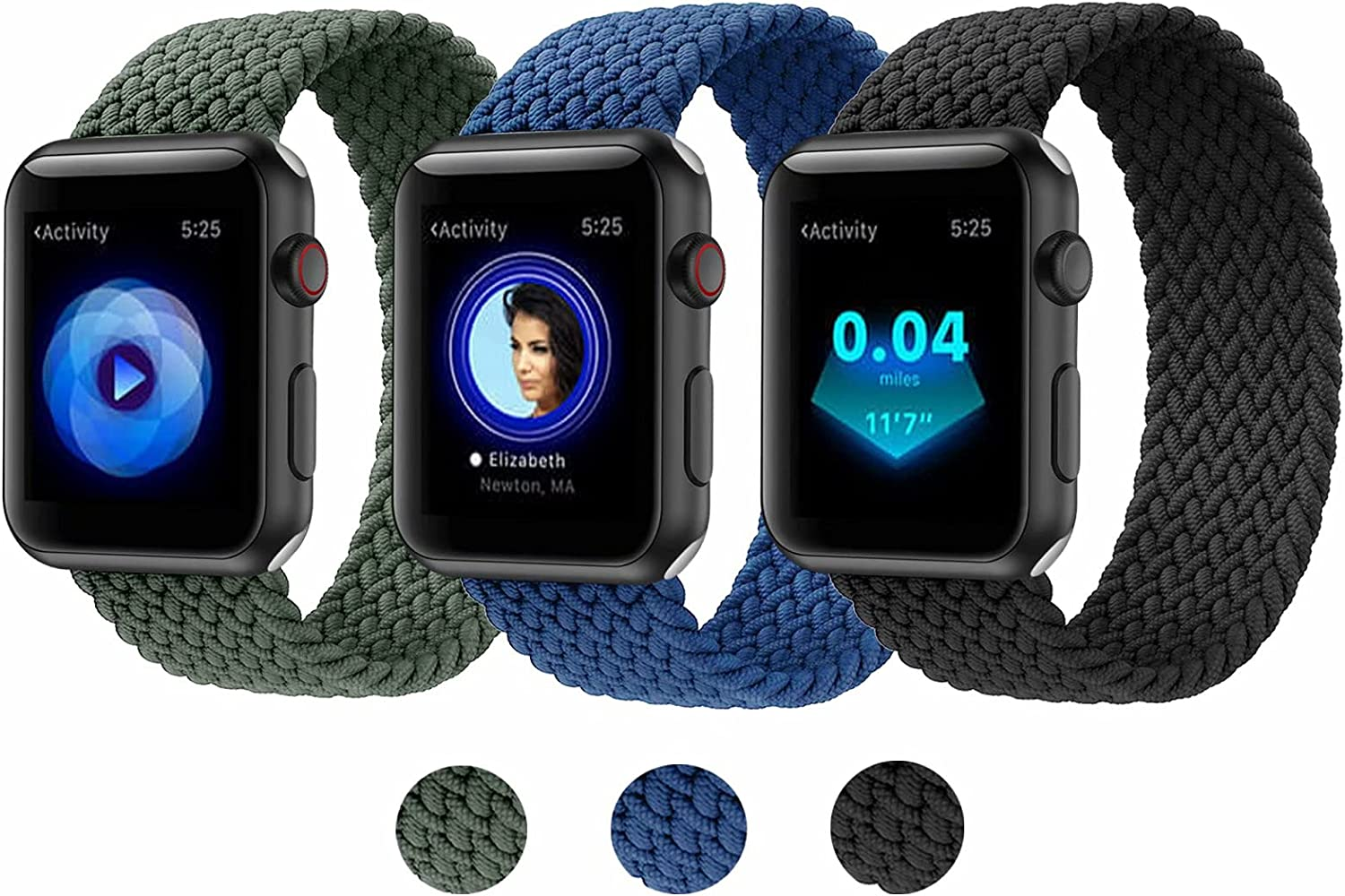 3 Pack Compatible with Apple Watch Band 38mm 40mm 42mm 44mm, Braided Elastic Solo Loop Sport Strap Compatible for iWatch Series 6 5 4 3 2 6 SE Black + Blue + Green