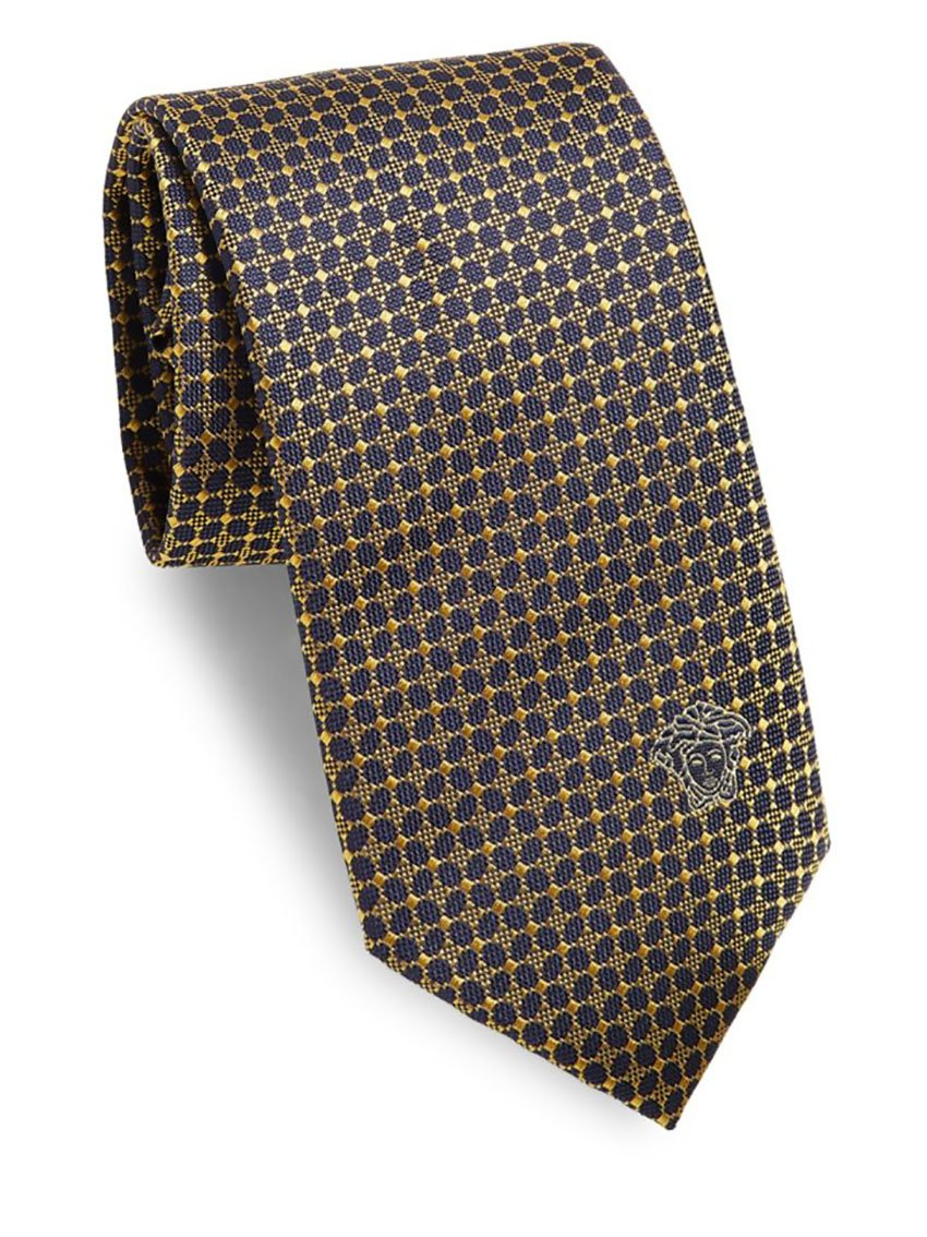Versace Men's Embroidered Silk Boxed Tie, OS, Navy & Yellow