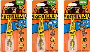 Gorilla Super Glue with Brush & Nozzle Applicator, 10 Gram, Clear, (Pack of 3)