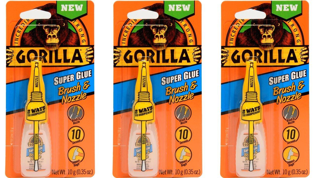 Gorilla Super Glue Brush & Nozzle, 10 g, Clear, (3 Pack)