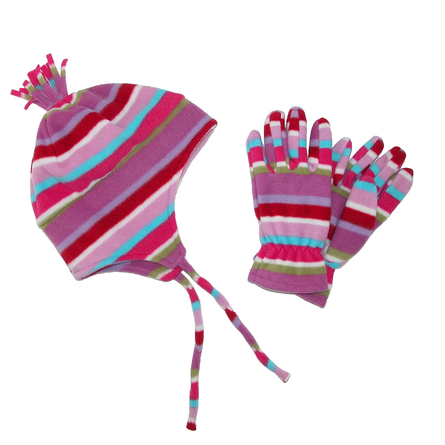 Grand Sierra Kid's 7-16 Helmet and Glove Fleece 2 Piece Set, Pink