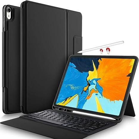 Yocktec Funda Teclado para iPad Pro 12.9 2018 [QWERTY], Teclado Bluetooth Ultrafino Funda
