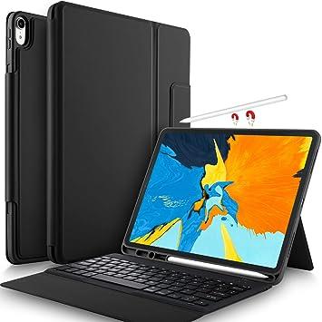 Yocktec Funda Teclado para iPad Pro 12.9 2018 [QWERTY], Teclado Bluetooth Ultrafino Funda de Soporte Frontal para Apple iPad Pro 12.9 Pulgadas 2018(Negro): ...