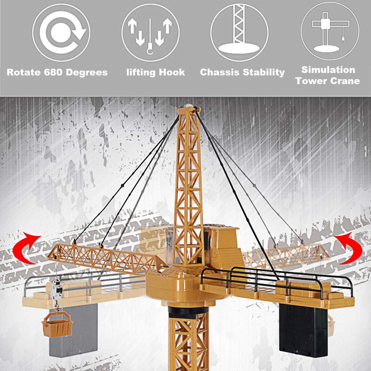Fistone 6 Channel RC Tower Crane, 50.4 inches 680 Degree Rotation Lift Model 2.4GHz Remote Control Construction Crane Toy with Tower Light and Simulation Sound for Kids by Fistone (Image #4)