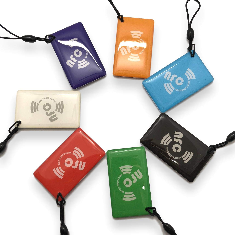 7 X NFC Tags | NXP Chip NTAG213 | memoria de 144 bytes | colores mezclados | colgar oblongo | alta potencia de escaneo | Impermeable | Diseño elegante: ...