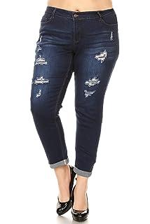 59066894cb79c wax jean Plus Size Women's Low Rise Distressed Denim Skinny Jeans at ...