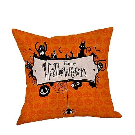 lilyyong Halloween bruja calabaza gato negro fundas de cojín de lino sofá Blend Cojín casos casa