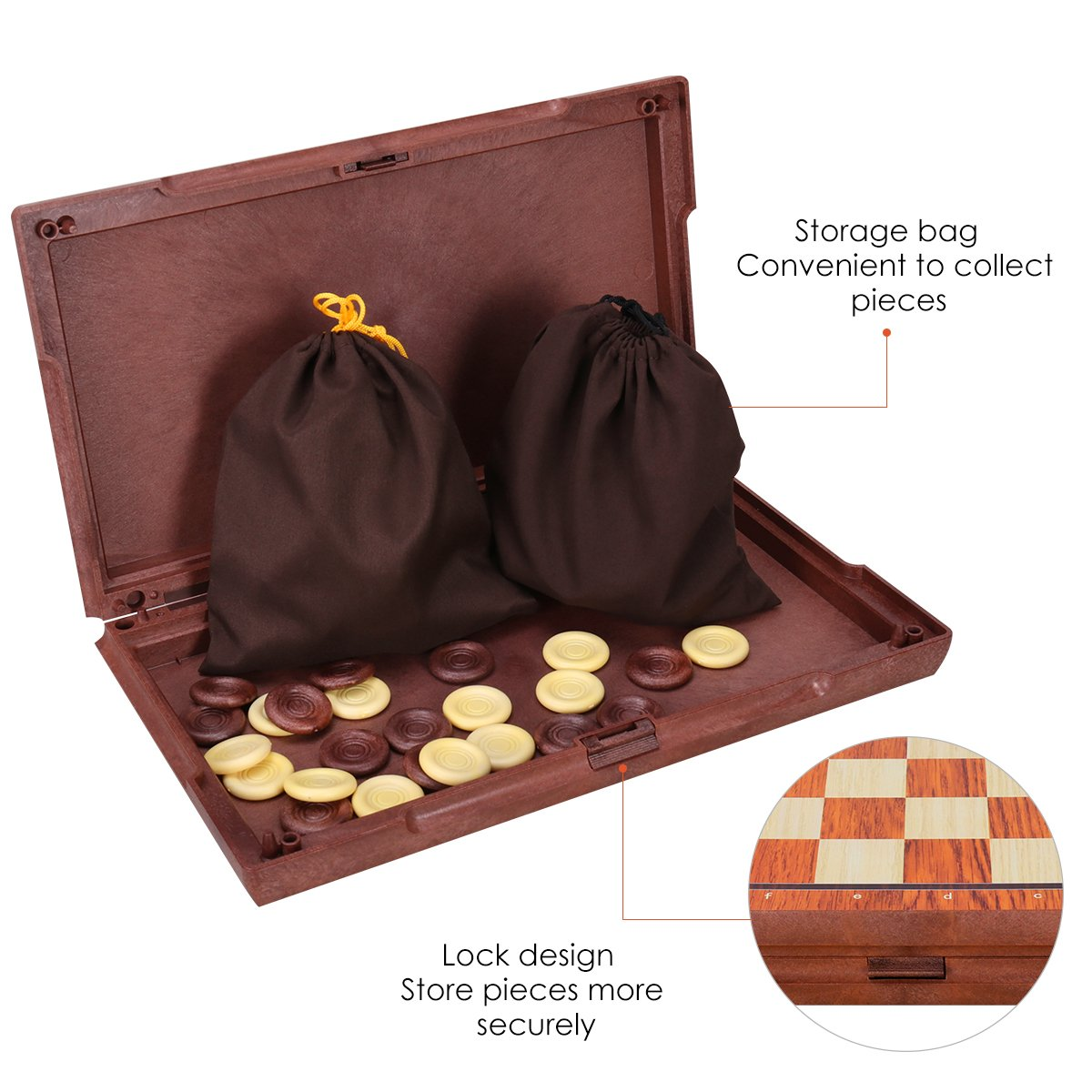 """Checkers Board Game Set Educational Toys for Kids and Adults 2 in 1 Magnetic Travel Chess Set with Portable Folding Chess Board iBaseToy Magnetic Chess and Checkers Set 14/"""" x 12/"""""""