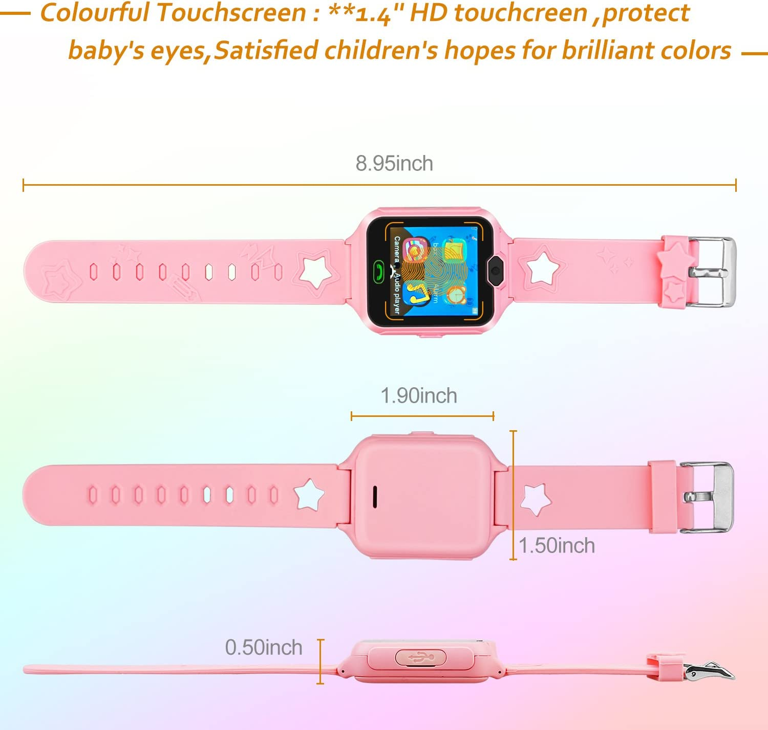 Fantasy Kids smartwatch Game Watches Touch Screen Camera Video Recorder Watch for Boys Girls Children Gifts (Phone Watch Pink)