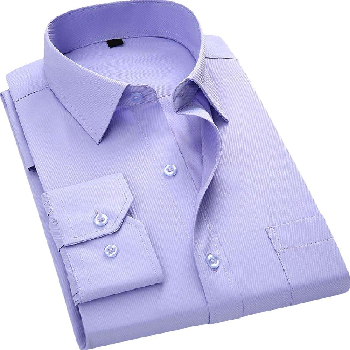 Abetteric Mens Long-Sleeve Pockets Fit Oversized Lapel Button Top Shirt