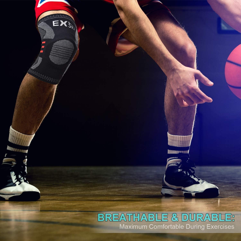 Damen und Herren Sportout 2er Pack Kniebandage,Elastische atmungsaktive Knieschoner,Anti-Rutsch Kompression Knieorthese perfekt f/ür Meniskusriss Laufen,Kniebeugen,Sport Sehnenentz/ündung Arthritis