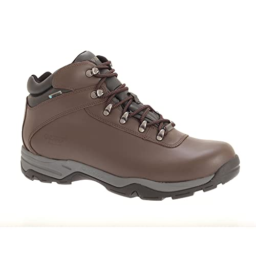 Hi Tec - Botas de senderísmo con capa de piel impermeable modelo Eurotrek para hombre (43 EU/Marrón oscuro): Amazon.es: Zapatos y complementos