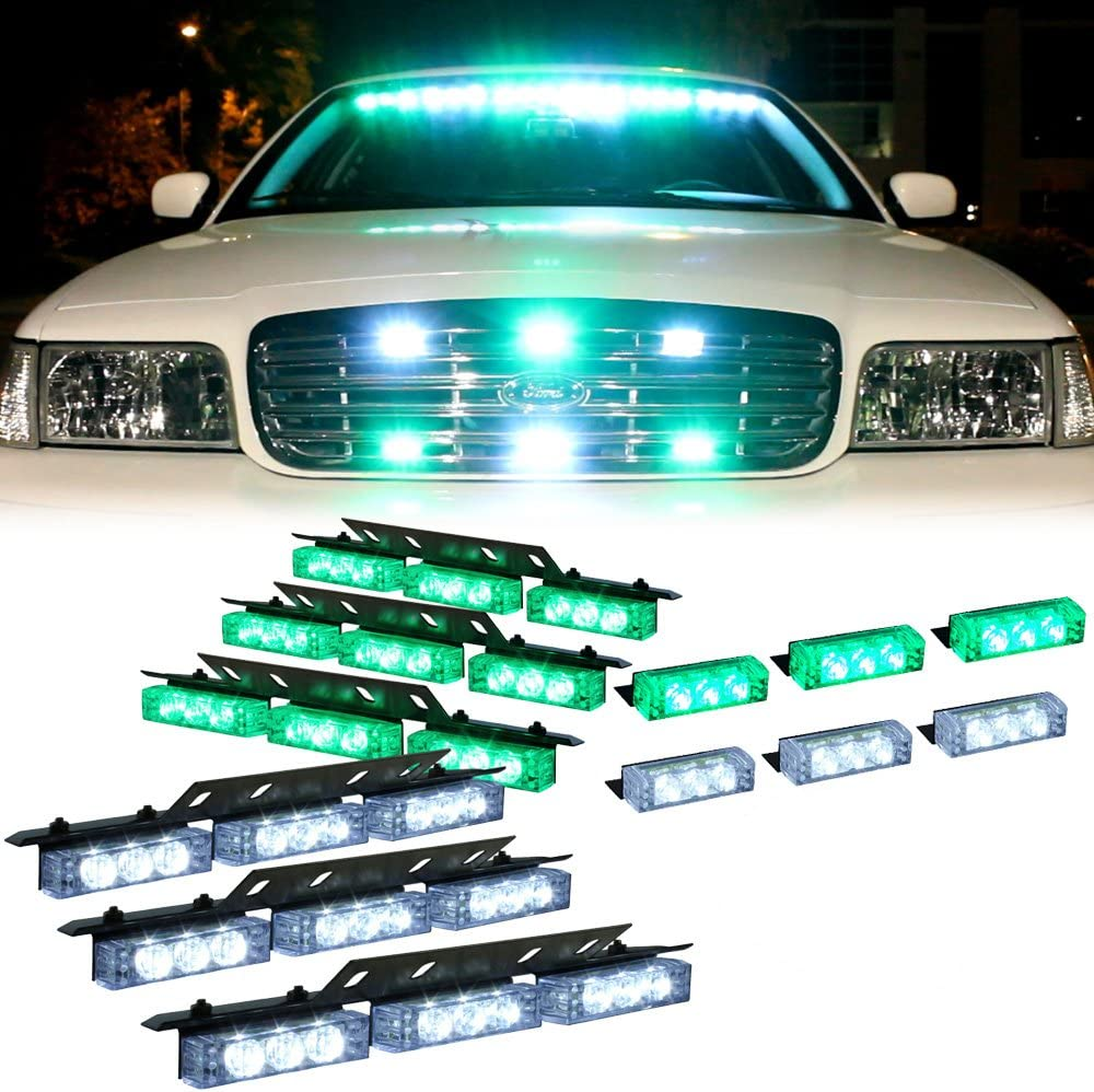 Flashing Emergency Warning Lights for Police Vehicle Truck Cars Green 54X LED Police Strobe Lights for Dash Deck Visor Grille
