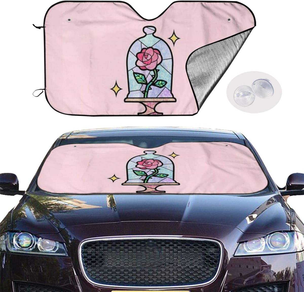 DNBCJJ Car Windshield Sunshade Pink Dumbo Sun Heat Shield Shade Uv Ray Visor Protector Keep Vehicle Cool