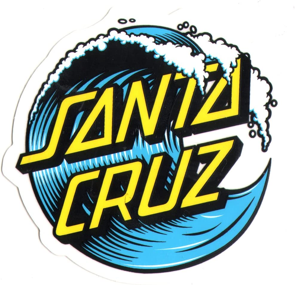 amazon com santa cruz wave dot skateboard sticker 16cm in size at it s widest point skate snow surf board bmx sports outdoors santa cruz wave dot skateboard sticker 16cm in size at it s widest point skate snow surf board bmx